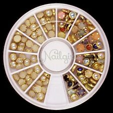 120 Glitters Alloy Pearls Studs Acrylic UV Nail Art Tips Decoration 3D DIY Wheel