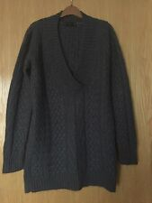 Beautiful Charcoal Grey Chunky Cable Knit Mohair Wool Jumper From Zara Size 14