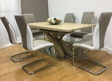 Imperial Dining Table Set and 6 Upholstered Padded Faux Leather Chairs
