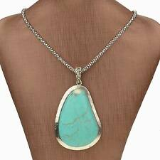 Flossy Tibet Silver Nature Turquoise Teardrop Chain Charm Necklace Pendant
