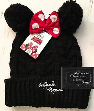 DISNEY MINNIE MOUSE GIRLS POM POM HAT GIRLS BOBBLE BOW HATS WINTER WARM AGE 7-13