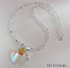 Swarovski Crystal Aurora Shell Clam Statement Necklace  w .925 Sterling Silver
