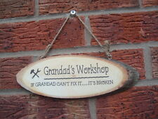Personalised workshop grandad  Natural Wood Bark Rustic Sign Plaque unique gift