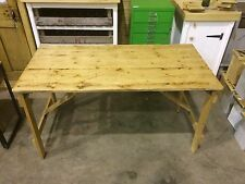 RUSTIC VINTAGE WOODEN PINE TRESTLE FOLDING TABLE INDUSTRIAL SHABBY CHIC