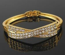 18K Yellow Gold Filled Clear Sparkling Swarovski Crystals Bracelet Bangle Gift