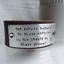 "Lovely Handmade Personalised ""The future belongs..."" Real Leather Cuff Bangle"