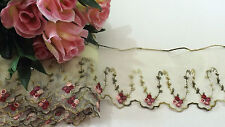 Green /Pink Embroidered Tulle Lace 9 cm wide # 6GN937B 1 metre