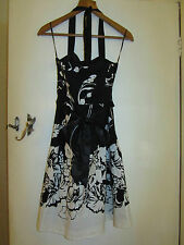 Black & White Floral Halterneck Prom Dress by Jane Norman in Size 10 - BNWT