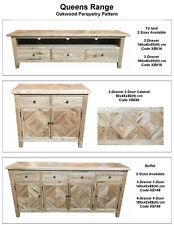 French Provincial parquetry buffet sideboard storage Oak timber wood 90x45x80H