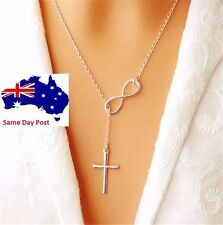 Fashion Women Silver Plated Infinity Cross Pendant Necklace Chain Event Jewelry