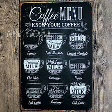 Coffee Menu Metal Tin Sign Plaque Vintage Cafe Pub Bar Retro Kitchen Wall Decor