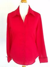 TOPSHOP STYLISH RED COTTON BLEND LONG SLEEVE FOLDED CUFF COLLARED BLOUSE SIZE 10