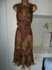REDUCED ! GORGEOUS LINED 95% SILK DRESS BY PLANET  IN VG CON SIZE 10 BUST 34-36""