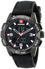 Wenger 70440 AltiNav Black Dial Black Silicone Strap Chronograph Men's Watch