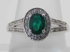 10K GOLD HALO DIAMOND & NATURAL GREEN COLOMBIAN EMERALD SOLITAIRE RING SIZE 7