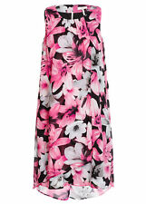 Black fuscia Floral dream LAYERED Overlay shift DRESS size 20  lined NEW