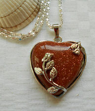 Unique brown goldstone heart gemstone pendant silver plated necklace flowers