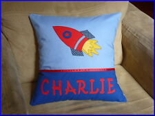 CHILD'S/BOYS PERSONALISED NAME CUSHION COVER/NURSERY/SHOWER/GIFT - - ROCKET  -