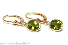 9ct Gold Peridot LeverBack Drop Earrings Gift Boxed Made in UK