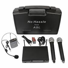 No Hassle UHF Wireless Radio Microphone System Dual Handheld + Headset Mics Case