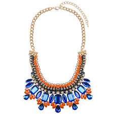 Womens Statement Bib Necklace Gold Chunky Bright Collar | FREE SHIPPING 65% OFF