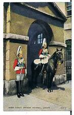 VALENTINES CARD HORSE GUARDS SENTRIES WHITEHALL LONDON 1930-31 TRP GEORGE LAWN