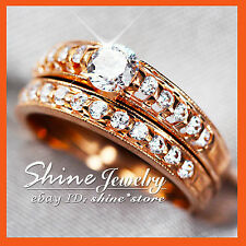 REAL 9K ROSE GOLD ENGAGEMENT WEDDING 1.5CT DIAMOND CREAT SOLID CHANNEL RING SET