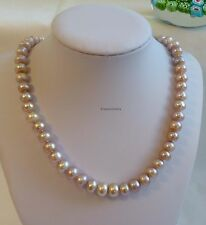 Genuine cultured freshwater 9-10 mm oblate pearl necklace 45cm purple
