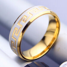 Men women his her titanium Steel engagement wedding gold plated ring size P 0328