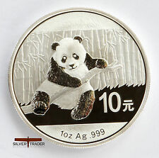 Chinese Panda , 2014  unc: 1 oz Troy ounce Fine Silver Bullion Coin