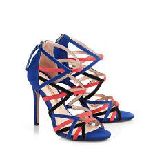 Buffalo Damen Sandaletten Veloursleder blau/mehrfarbig 39 Neu 25468-1046 H14624