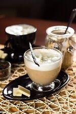 Cappuccino Tasse 220ml mit schwarzem Henkel und Unterteller Kaffeetasse Teetasse