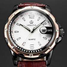 Men's White Dial ORKINA Stainless Steel Date Leather Band Quartz Wrist Watch