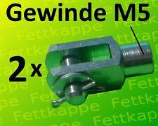 2 x Gabelkopf 5x10 M5 mit Splintbolzen DIN71751 verzinkt  - Gabelgelenk