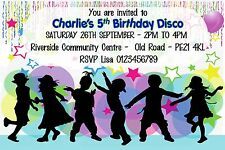 Children Personalised Disco Birthday Party invitations x 10