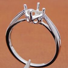 Genuine Solitaire Mount Solid 14K White Gold Engagement Fancy Wedding Fine Ring