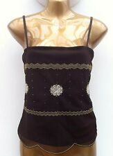 MEXX Chocolate Gold Embellished Strappy Cami Top Size Small ( UK 8 ) WORN ONCE