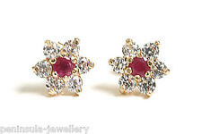 9ct Gold Ruby Stud Earrings Gift Boxed Made in UK