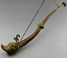 Tibet Collectible Decorate Old Handwork Copper Carved Dragon Instrument Trombone