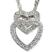 0.16 CT GENUINE DIAMOND 18K WHITE GOLD OVER STERLING SILVER HEART NECKLACE