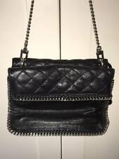 DKNY Black Silver Chain Quilted Leather Shoulder Bag Handbag