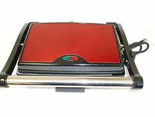 New Large Panini Sandwich Toastie Press Maker Red Stainless Steel 3 Slice