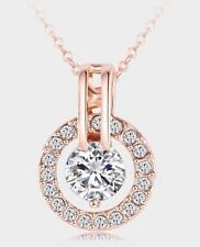 18K Rose GOLD Plated Swarovski Crystal Elements Round Pendant Necklace Gift