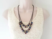 """Stunning 22"""" long hematite layered chain & AB glass bead necklace & earring set"""