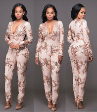 Fashion Champagne Sequins Bandage Bodycon Jumpsuit Catsuit Playsuit Clubwear 280