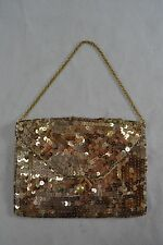 VINTAGE 1940s gold sequin evening bag/handbag with chain handle and faux pearl