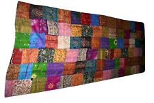 QUEEN INDIAN KANTHA QUILT SILK BEDSPREAD THROW BLANKET DECORATIVE VINTAGE RALI