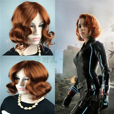 Short Curly Women's Black Widow beautiful dark Brown party Full Wavy Hair Wigs