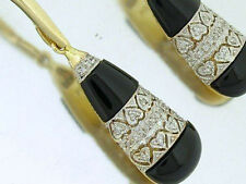 SUPERB Genuine 9ct Solid Yellow Gold Natural Diamond & Onyx Drop Earrings