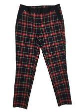 RIVER ISLAND Check Tartan Trousers Red Black White - Womens Size UK 6